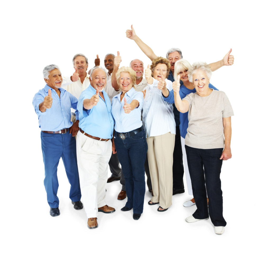 Full length image of an excited mob of senior citizens over white