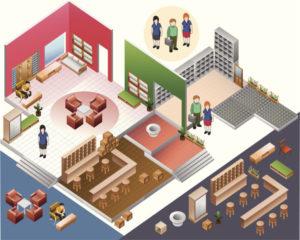 Tegnet bilde av et hus med alle rommene sett fra fugleperspektiv