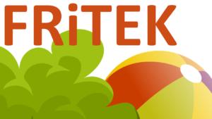 Fritek-logo med ordet FRITEK, en busk og en ball for å illustrere fritid