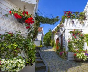 Bybilde fra Stavanger med trehus og en brosteinslagt gate i oppoverbakke.