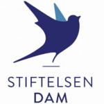 Logoen til Stiftelsen Dam med fugl og stiftelsens navn